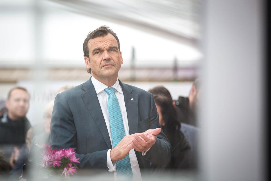 Christoph Gröner beim Richtfest des Palatiums am Palaisplatz im November vergangenen Jahres. Jetzt hat er den Vorstandsvorsitz der CG Gruppe abgegeben.
