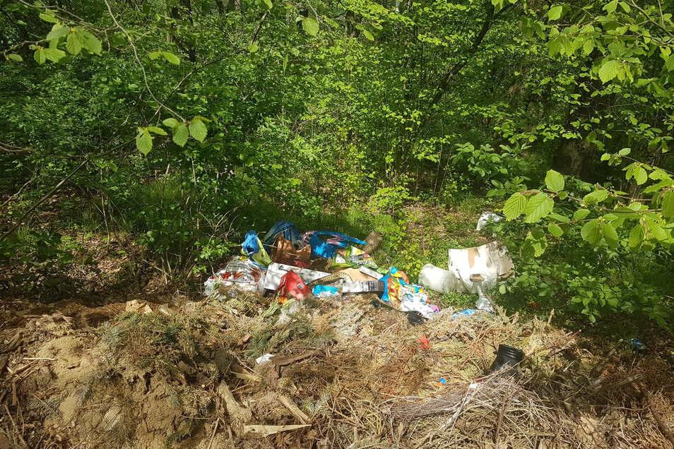 Eine illegale Müllkippe, hier bei Ludwigsdorf in der Nähe des Sportplatzes.