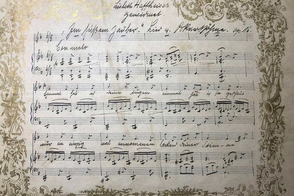 Das geheimnisvolle Notenblatt des Liedes, welches Oskar Böhme für die Schwägerin seines Bruders schrieb.