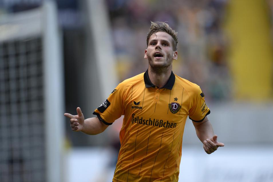 So mag er sich selbst am meisten: jubelnd nach einem Tor. In Dresden passierte dies regelmäßig. Auch dank seiner Treffer schaffte Dynamo vor vier Jahren den Aufstieg in die zweite Liga.