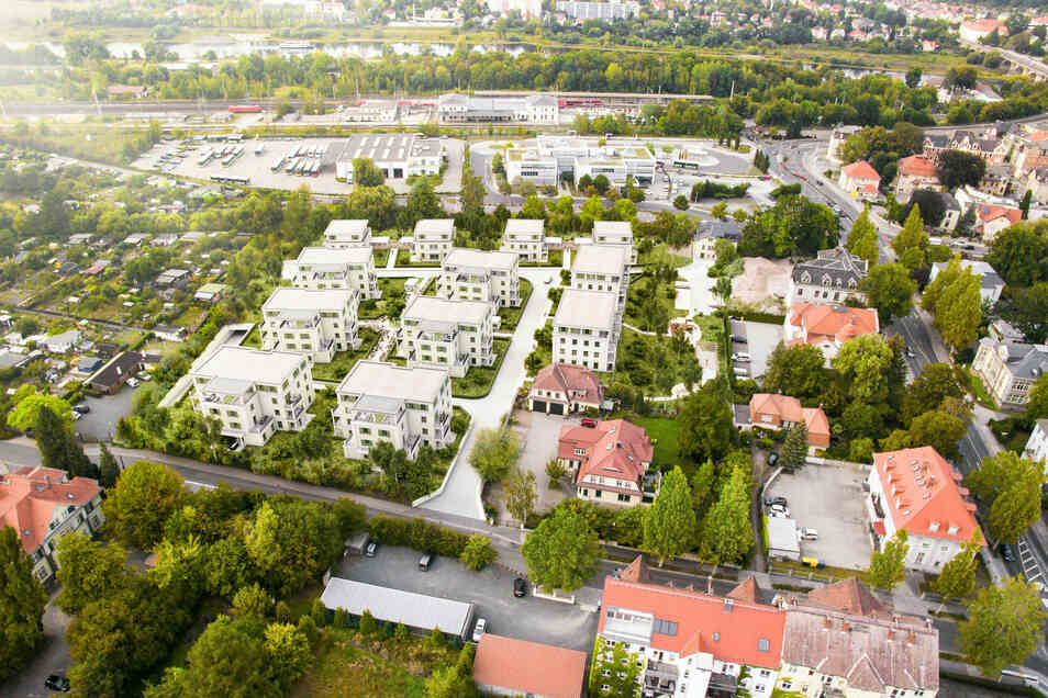 """Blick auf den künftigen Wohnpark """"Sandsteingärten"""": Zwölf Häuser mit insgesamt 88 Wohnungen."""