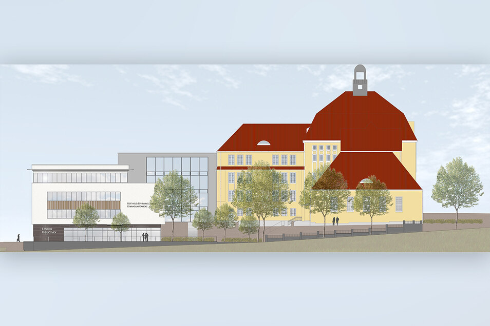 So soll der Lessing-Campus in Kamenz einmal aussehen. Gebaut wird schon länger, aber der Grundstein wurde jetzt erst gelegt.