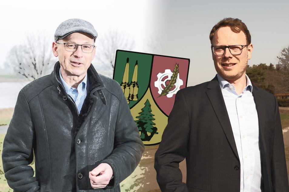 Die beiden Zeithainer Bürgermeisterkandidaten Mathias Busse (l., CDU) und Mirko Pollmer (r., BIG) haben in den vergangenen Wochen um Stimmen geworben. Heute entscheiden Zeithains Wähler, wer von den beiden Männern der neue Bürgermeister wird.