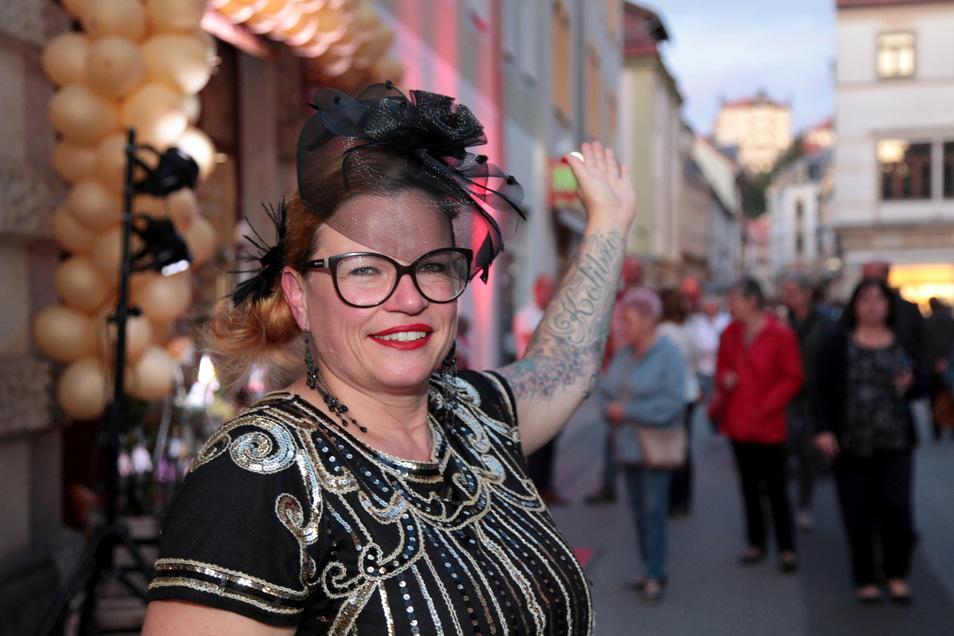 """Simone Klockow vom """"Klimm-Bamm-Borium"""", hier bei der Einkaufsnacht 2020: Es ist schön, dass Gemurmel der Passanten wieder zu hören."""