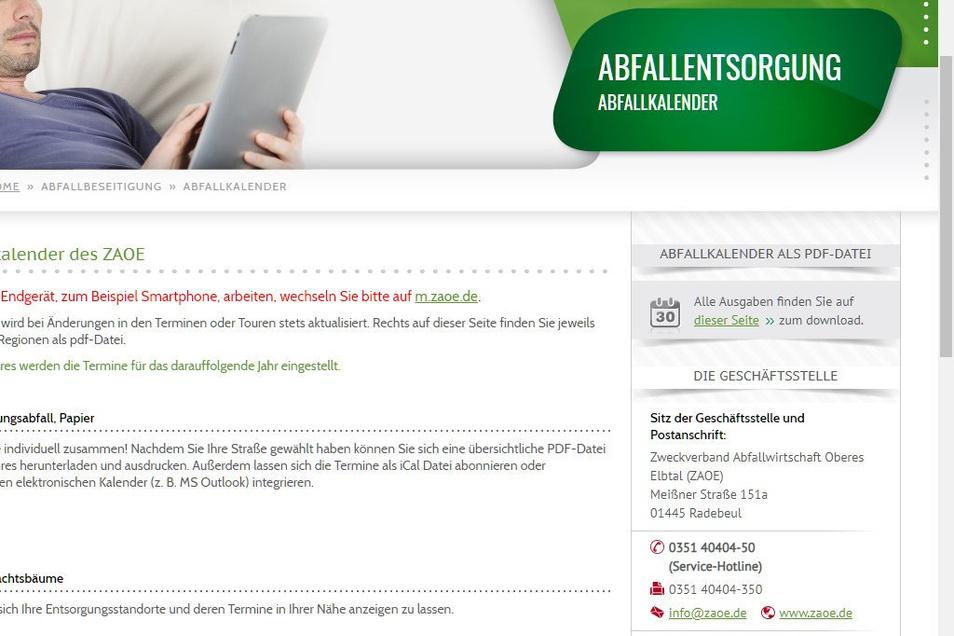 Der SZ-Screenshot zeigt die Internetseite des Abfallzweckverbandes Oberes Elbtal (ZAOE) mit dem Hinweis auf die elektronischen Versionen des Abfallkalenders.