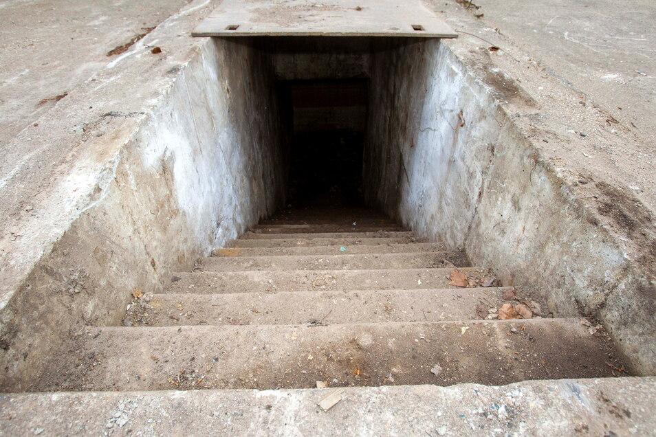 Früher und jetzt verschlossen und nur für den Besuch von sächsische.de mal geöffnet: der Bunker auf dem Heidenauer Mafa-Gelände.