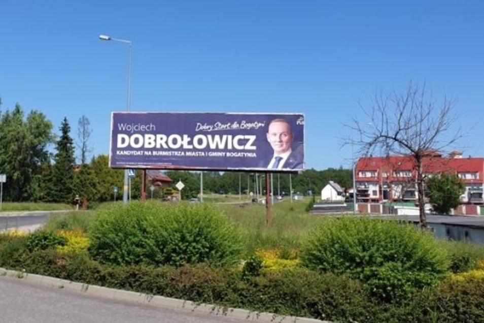 So wirbt der amtierende Bürgermeister Wojciech Dobrolowicz für sich.