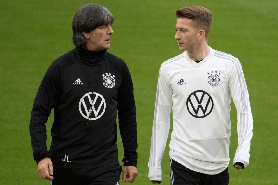 Bundestrainer Joachim Löw (l) und Spieler Marco Reus.
