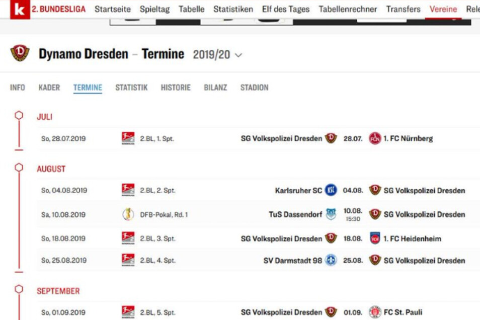 Da sind die Kollegen vom Kicker wohl im Online-Menü verrutscht. Die SG Volkspolizei Dresden - das ist fast 70 Jahre her.