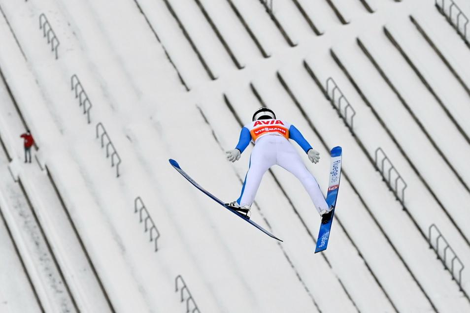 Der Überflieger auch auf der Vogtlandschanze in Klingenthal: Halvor Egner Granerud aus Norwegen gewinnt beide Einzelspringen.