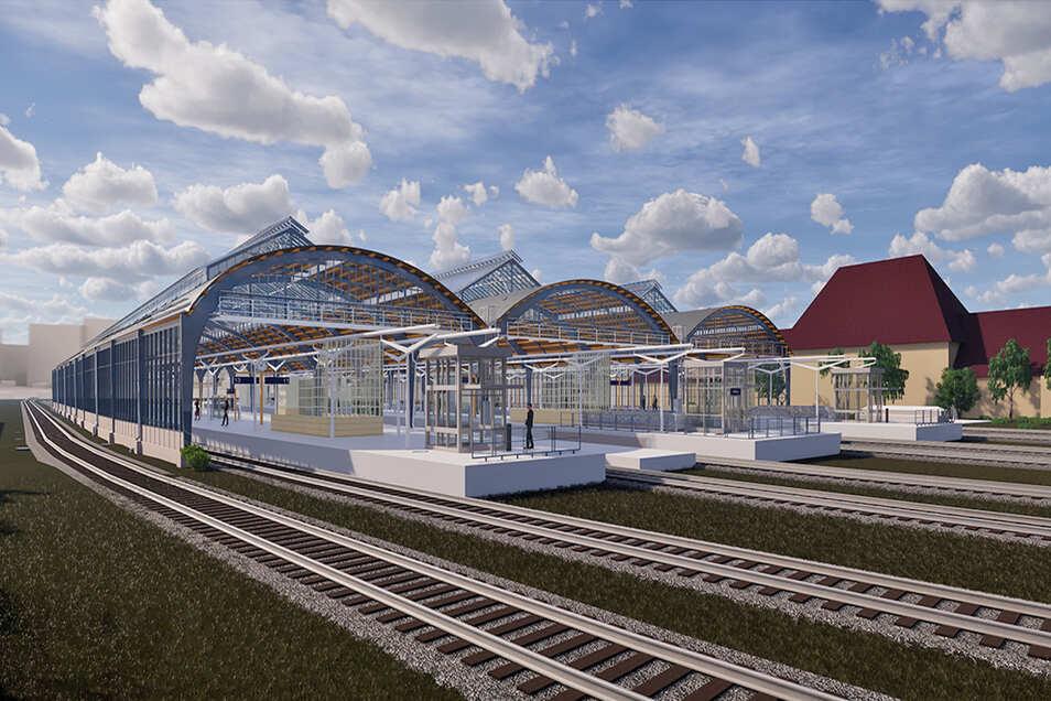 So soll die Görlitzer Bahnsteighalle nach ihrer Sanierung aussehen. Im Frühling 2023 soll es so weit sein. © Bild: ZPP/DB S&S AG