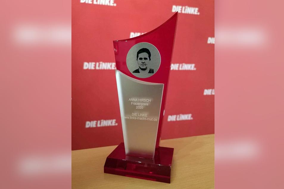 So sieht der Anna Hirsch-Preis jedes Jahr wieder aus, nur immer mit einer anderen Jahreszahl.