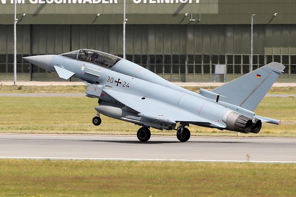 Zwei Eurofighter ähnlich wie dieser mussten am Donnerstag in Leipzig zwischenlanden.