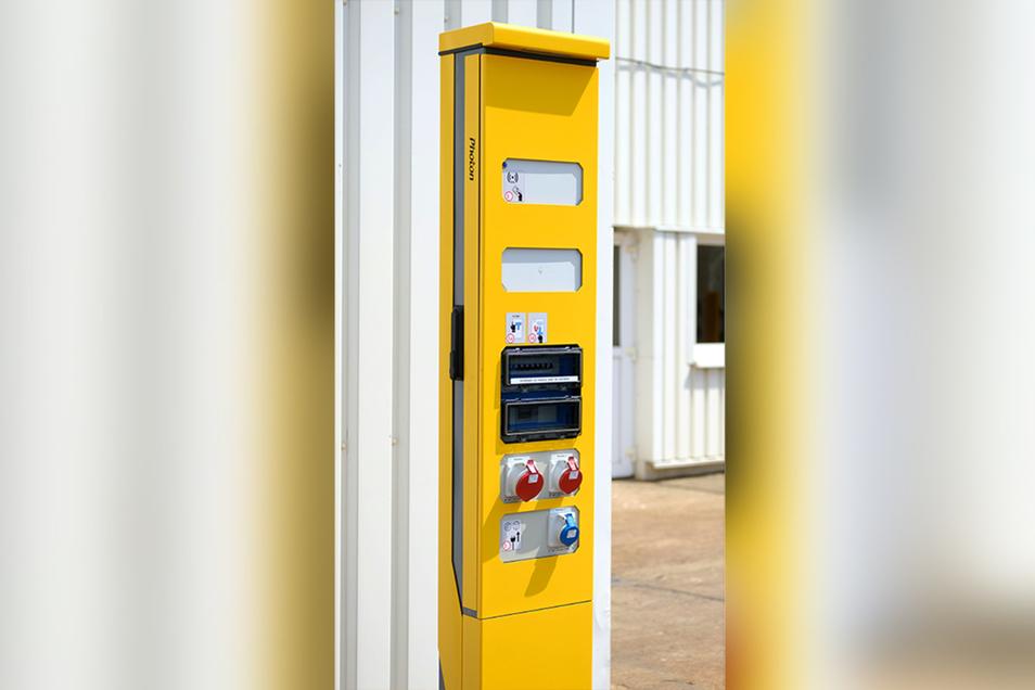So sehen die neuen Stromtankstellen für Dieselloks aus, die das Meißner Unternehmen an die Deutschen Bahn AG ausliefert.