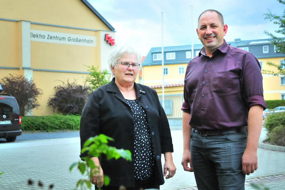 Dorothea Böhme und ihr Nachfolger Marko König von der Genossenschaft EZG Großenhain.