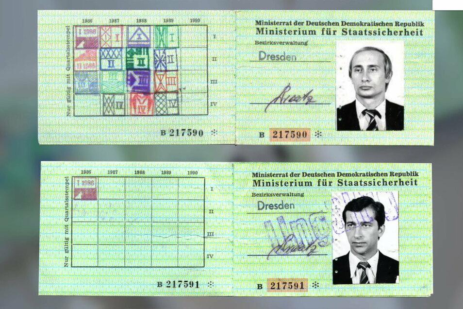 Putins damaliger Stasi-Ausweis.