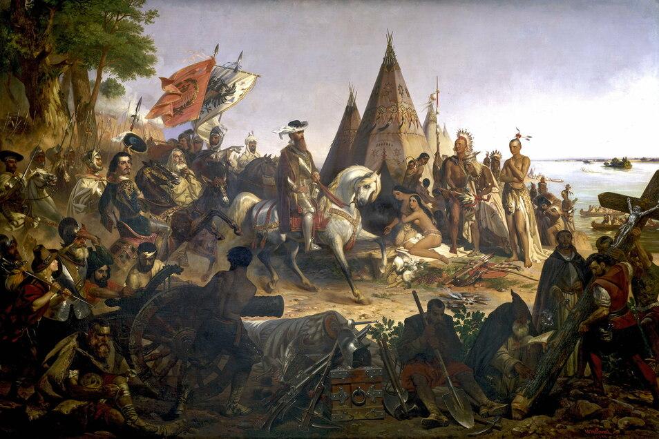 Schamlos romantisiert: Das Gemälde von George Powell zeigt die Eroberung des Mississippi durch Hernando de Soto im Jahr 1541. Das Bild schmückt die Rotunde im Kapitol.