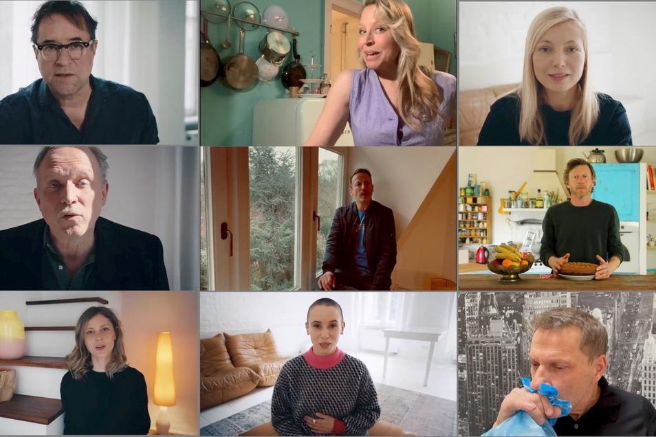 Die Kombo aus einzelnen Video-Standbildern der Internetaktion #allesdichtmachen via Youtube zeigt Schauspieler, die sich an der Internetaktion unter dem Motto #allesdichtmachen beteiligt haben.