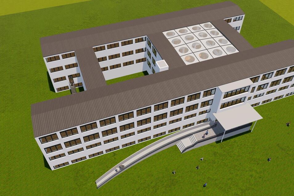 Ein rollstuhlgerechte Zugang und ein überdachter Innenhof - so soll die Riesaer Trinitatisschule nach der Teilsanierung aussehen.