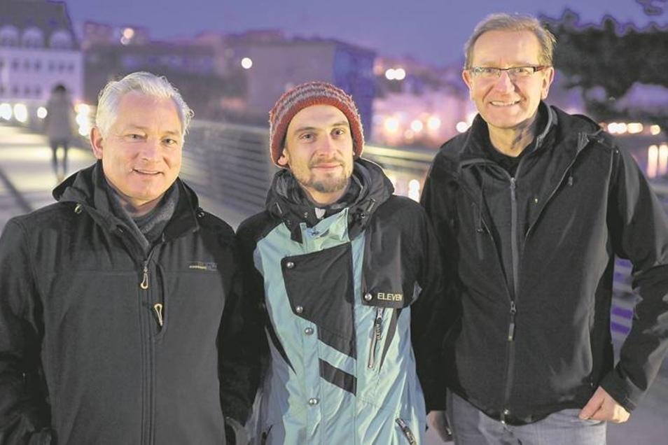 Engagieren sich am See: Ralf Richter, Steve Gerlach und Thomas Schynol (v.l.) haben den Verein Görlitzer See gegründet. Ihnen geht es vor allem um mehr Miteinander am Berzdorfer See. Fotos. Archiv (1)/Sosnowski (1)