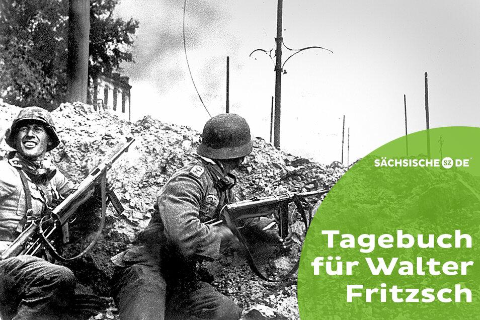 Deutsche Infanterie bei den Straßenkämpfen um Stalingrad. Die Schlacht endete für die Wehrmacht 1943 mit einer vernichtenden Niederlage. Die Einheit von Walter Fritzsch war vorher aufgerieben.