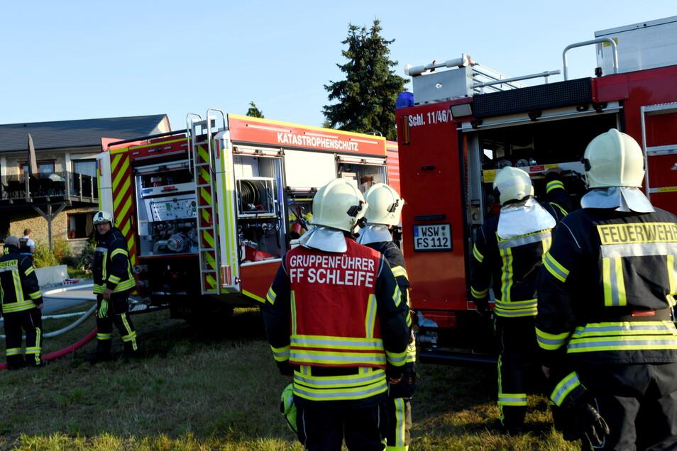 Die Schleifer Feuerwehr, hier bei einem Einsatz im September, soll ein neues Gerätehaus erhalten.