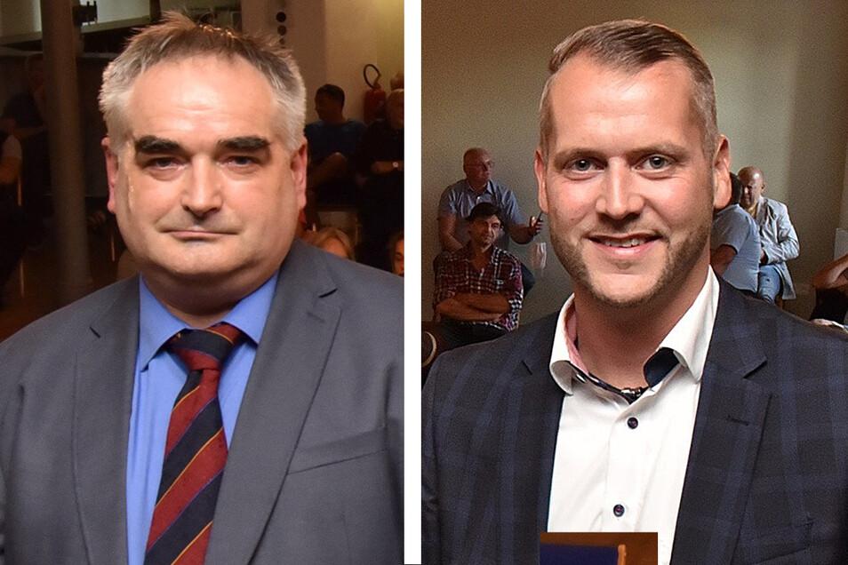 Tilo Bretschneider (AfD, li.) und Sven Gleißberg (CDU-Mandat) wollen Bürgermeister in der Uhrenstadt Glashütte werden.