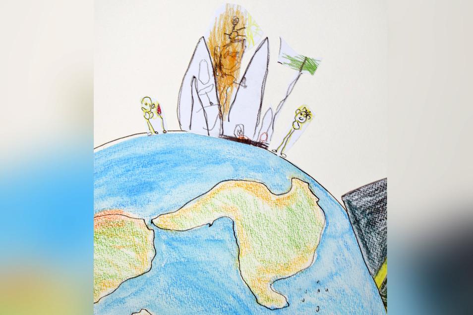 """Jasmin Müller hat mit Buntstiften """"Syrien – nicht nur ein Traum"""" gezeichnet. In Verbindung mit der Projektwoche """"Andere Länder"""" wurde das Leben in Syrien thematisiert und verarbeitet. Krieg! So fern und doch so nah! Angst! Mitschüler berichteten vom Erleb"""