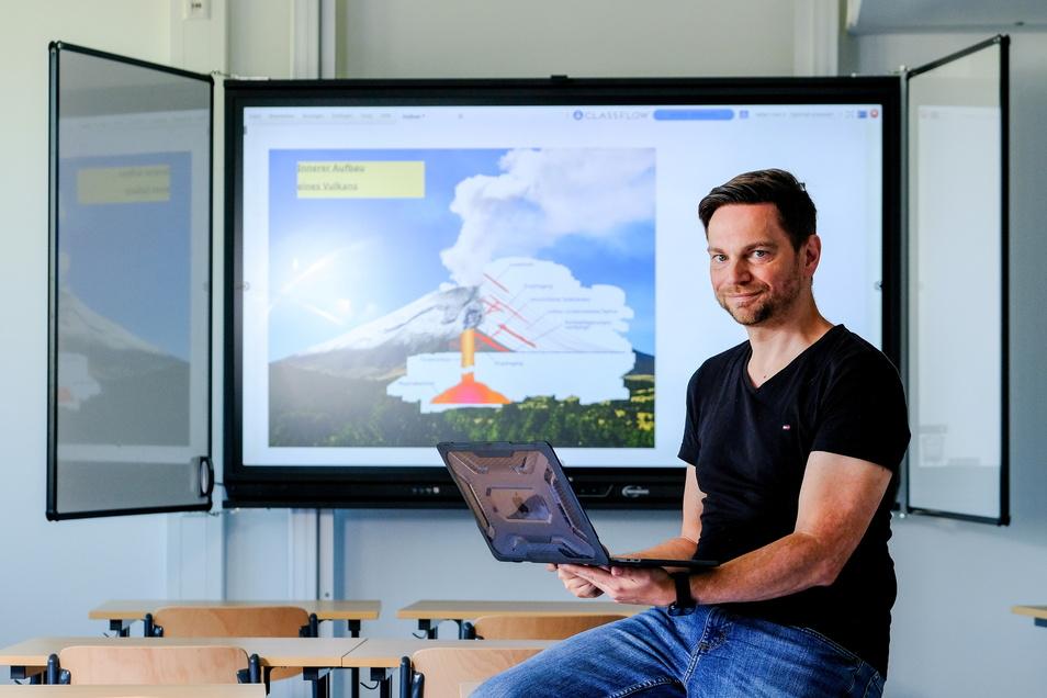 Peter Ansorge unterrichtet Geschichte und Ethik an der Kamenzer Oberschule. Er nutzt die interaktiven Tafeln schon im Unterricht. Das sollen in Zukunft auch alle anderen Kolleginnen und Kollegen machen.