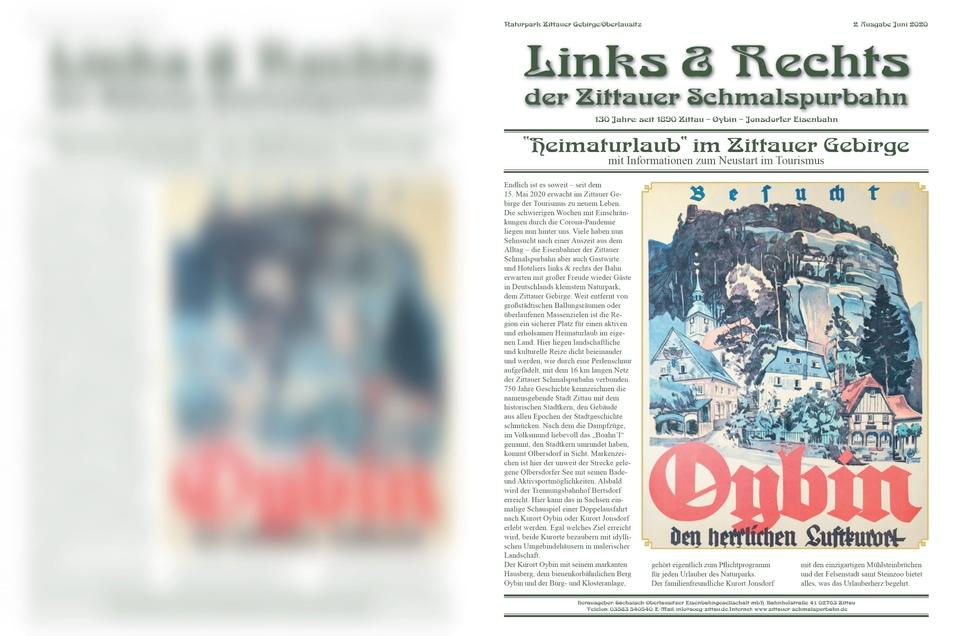 """Das Deckblatt Zeitung """"Links & Rechts der Zittauer Schmalspurbahn""""."""