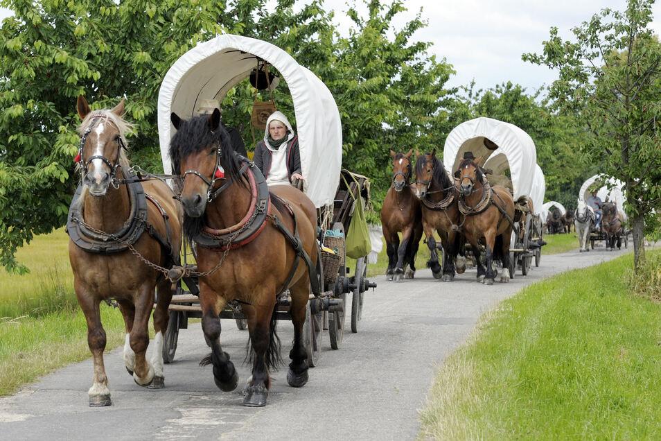 Schon 26 Mal zogen beim Historischen Besiedlungszug Männer, Frauen und Kinder durch die Region Mittelsachsen, um so zu leben, wie diejenigen, die 1156 dem Ruf Ottos von Wettin folgten und sich hierzulande niederließen.