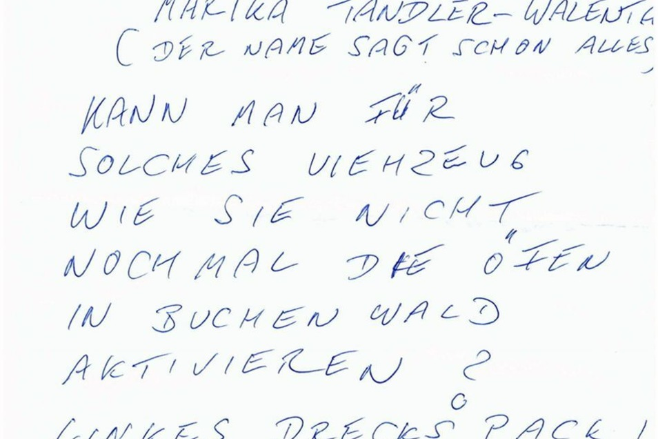 Diesen Drohbrief hat die Politikerin vergangene Woche erhalten.
