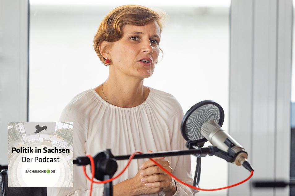 """Katja Kipping (Die Linke) im Podcast """"Politik in Sachsen"""" bei Sächsische.de."""