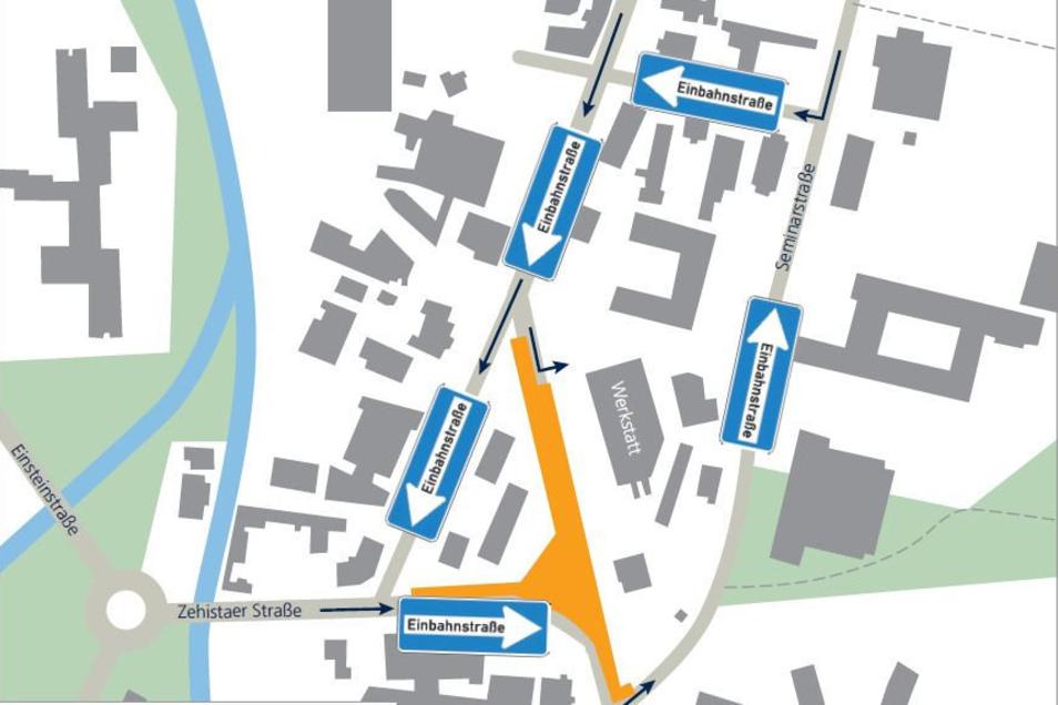 Das Bild zeigt den geänderten Verkehrsfluss während des Kreuzungsumbaus. In ocker ist der Baubereich markiert.