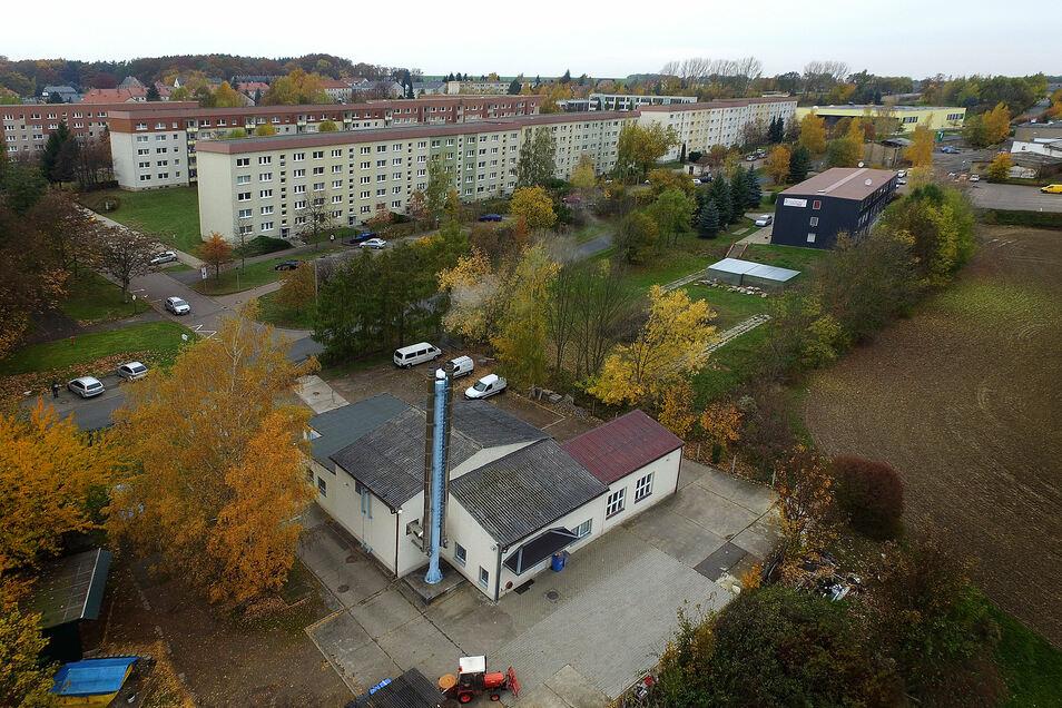 Das Heizhaus in Hartha Nord (im Vordergrund) wird von der Wohnbau Hartha GmbH betrieben.
