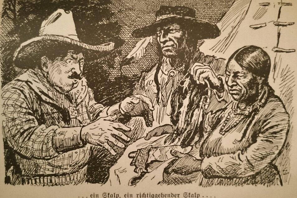 Illustration zu Patty Franks Skalp-Geschichte. Er war der Gründer des Karl-May-Museums.