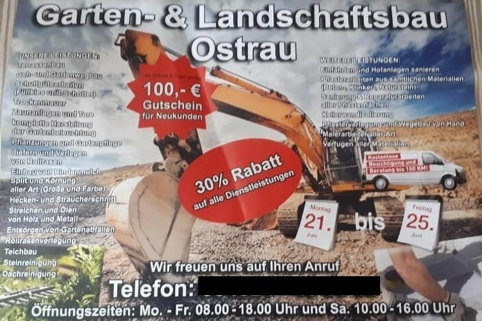 """Mit diesem Flyer wirbt die """"Garten- und Landschaftsbau"""" aus Ostrau mit ihren Angeboten. Doch die sind alles andere als günstig."""