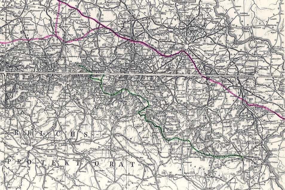 Auf der historischen Karte hat Dr. Tomasz Przerwa von der Uni Breslau den um 1938 geplanten Verlauf der Sudetenstraße grün eingezeichnet. Rosa eingetragen ist der damals geplante Verlauf der Reichsautobahn, der heutigen A4 in Polen.