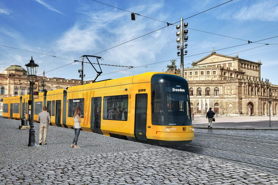 """Die Sophienstraße mit der neuen Straßenbahn - eine Visualisierung. Denn erst Ende des Jahres soll die erste neue Bahn Dresden erreichen. Vor der Semperoper sind die Schienen inzwischen bereit für die neue """"Flexity""""."""