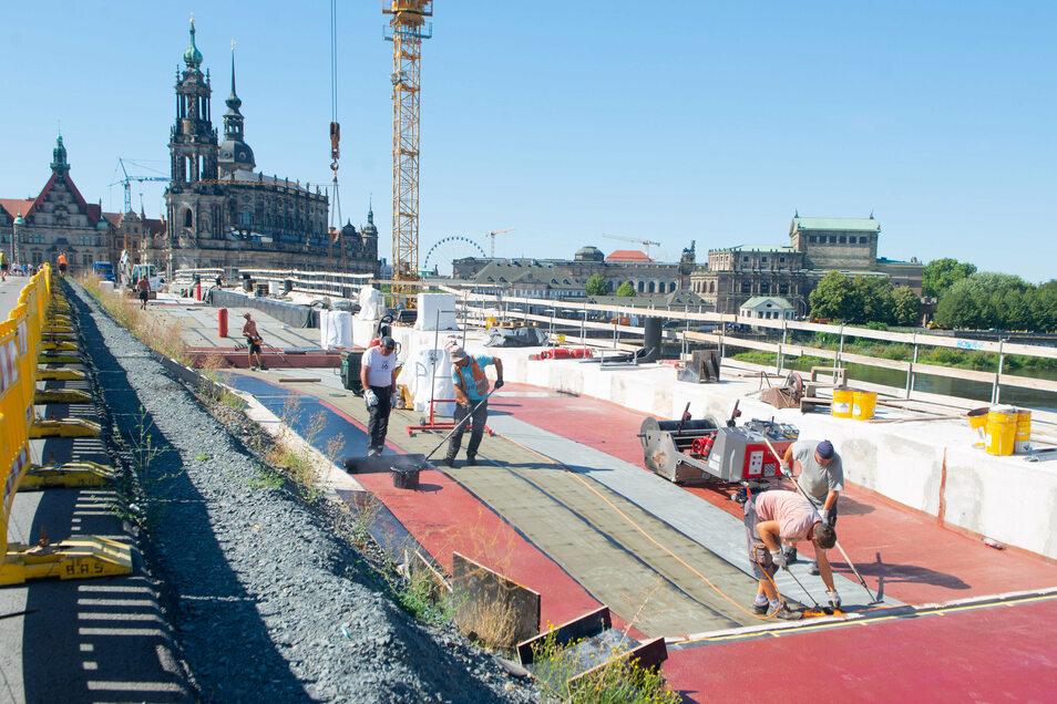Bis zum sechsten Bogen sind die Brückenbögen schon abgedichtet.