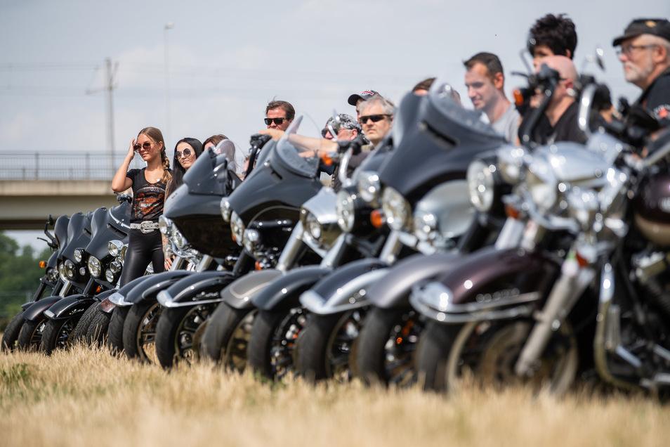 Probestellen: Ein reichliches Dutzend Harleyfahrer testete schon mal den Untergrund im Ostragehege.