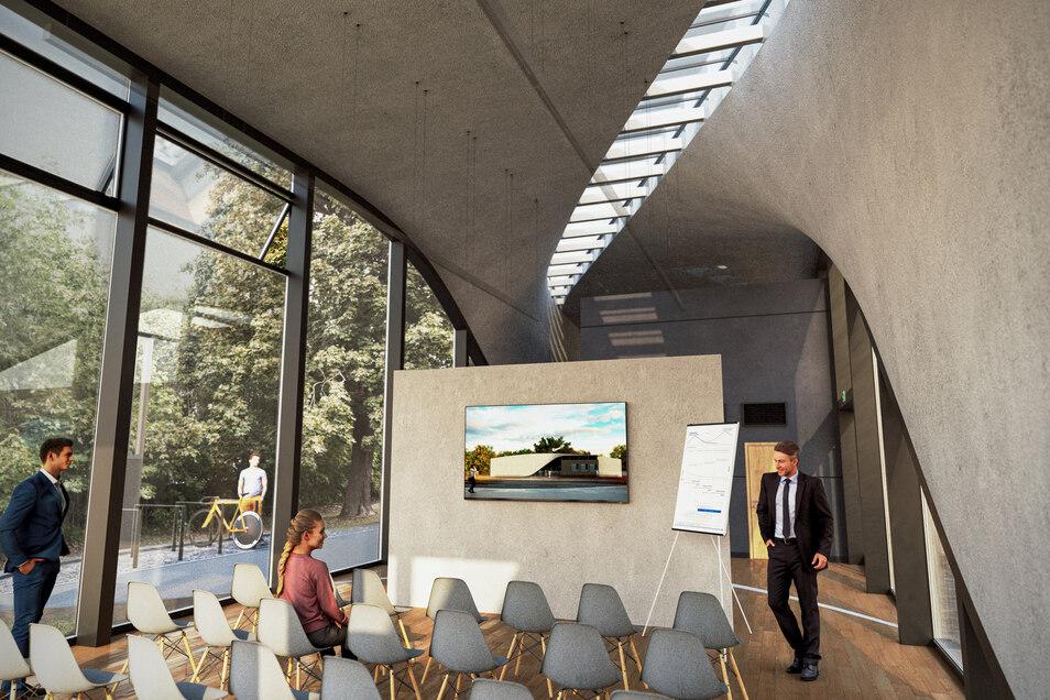 Eine Lücke im Gebäude? Ein verglaster Schlitz an der Decke soll den Veranstaltungssaal mit natürlichem Licht versehen.