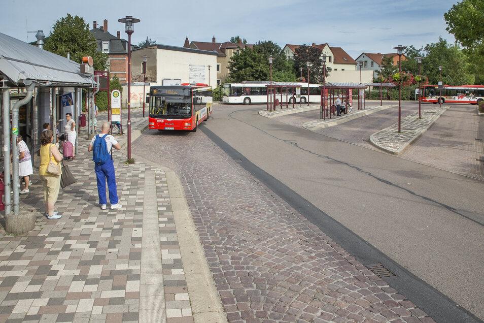 Der Busbahnhof in Freital-Deuben.