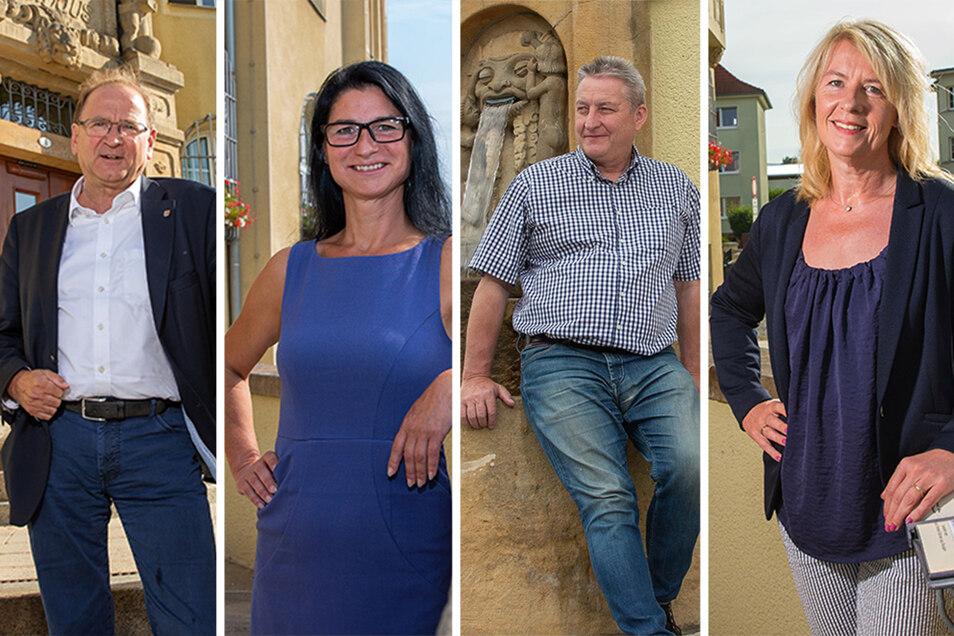 Jürgen Opitz (CDU, l.) will es noch mal wissen. Daniela Lobe (Linke)  ist zum zweiten Mal in den Stadtrat gewählt worden,  Anette Denzer-Ruffani (FDP, r.) erstmals . Uwe Dressler (parteilos) war mal CDU-Mitglied und Stadtrat.