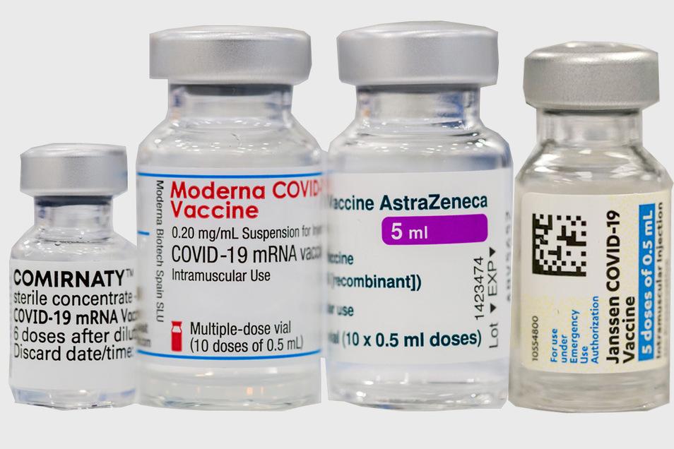Die vier derzeit in der EU zugelassenen Corona-Impfstoffe (v.l.): Pfizer-BioNTech, Moderna, AstraZeneca und Johnson & Johnson