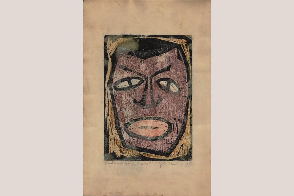 """Das einzige Exemplar des frühen Holzschnitts """"Maske I"""" von Johannes Wüsten wurde vor Kurzem bei einer Haushaltsauflösung in Hamburg gefunden."""