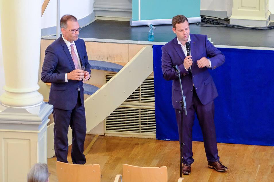 Nur einer konnte gewinnen: Ralf Hänsel (l.)und Sebastian Fischer. Der Unterlegene rief die Mitglieder nach der Wahl zur Geschlossenheit auf.