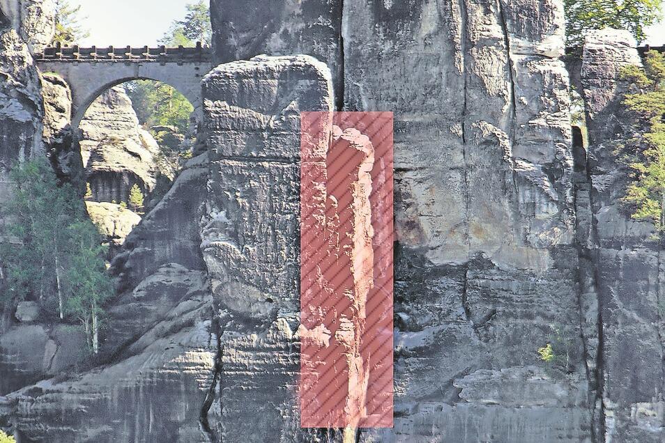Dieser acht Meter hohe Felsturm droht einzustürzen.