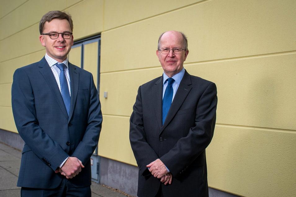 Dr. Christoph Trumpp (links) wird ab Juni die Nachfolge von Kreiskämmerer Andreas Müller antreten. Jener ist seit 1974 im Bereich der Kreisverwaltung tätig.