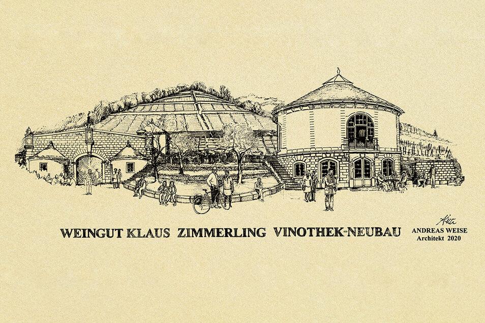 Diese Zeichnung von Architekt Andreas Weise aus Dresden zeigt, wie die Vinothek später aussehen soll. Links daneben ist der Weinkeller zu sehen, der auch von Weise stammt.